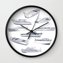 Wood Boats - Lake Life - Susanne Johnson Art Wall Clock