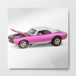 Hot Wheels Pink Party 427 SS Pony Car 67 Redline with white hardtop hood open Metal Print