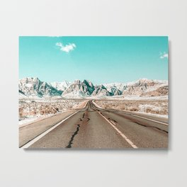 Vintage Desert Road // Winter Storm Red Rock Canyon Las Vegas Nature Scenery View Metal Print