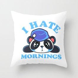 Cute & Funny I Hate Mornings Lazy Sleepy Panda Throw Pillow