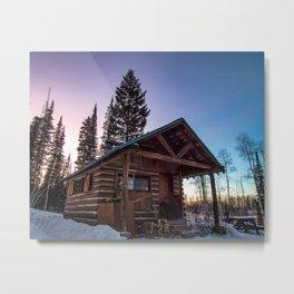 Lumberjack Sunset // Beautiful Gritty Cabin in the Woods Purple Blue Sunset Metal Print