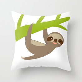 funny and cute smiling Three-toed sloth on green branch Throw Pillow
