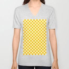 Cream Yellow and Amber Orange Checkerboard Unisex V-Neck