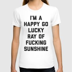 Ray Of Sunshine Funny Quote White X-LARGE Womens Fitted Tee