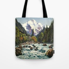 Mountains Forest Rocky River Tote Bag