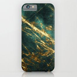 Glamorous Green Faux Marble Pattern With Gold Veins iPhone Case