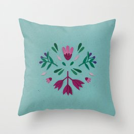 Light blue folk scandi flowers Throw Pillow
