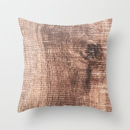 Scrapped Wood Cross Section Cut Gritty Woody Grain Detail Throw Pillow