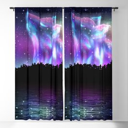 Northern landscape with howling wolf spirit and aurora borealis Blackout Curtain