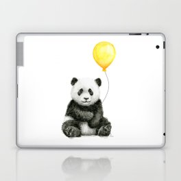 Panda Watercolor Animal with Yellow Balloon Nursery Baby Animals Laptop & iPad Skin