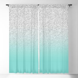 Modern Girly Faux Silver Glitter Ombre Teal Ocean Color Block Blackout Curtain