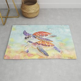 Swimming Together - Sea Turtle Rug