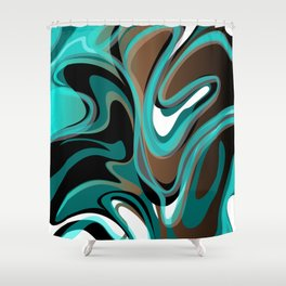 Liquify - Brown, Turquoise, Teal, Black, White Shower Curtain