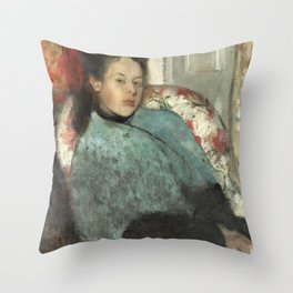 Portrait of Elena Carafa by Edgar Degas Throw Pillow