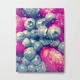 Strawberry & Blueberry Love Metal Print