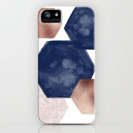 Blush Pink and Indigo Hex II iPhone Case