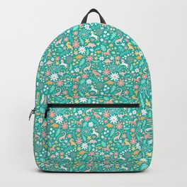 Dinosaurs + Unicorns on Teal Backpack