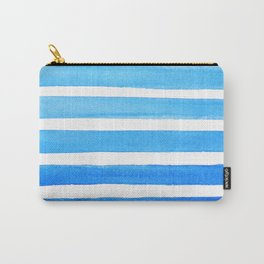 Blue Watercolor Stripes Carry-All Pouch