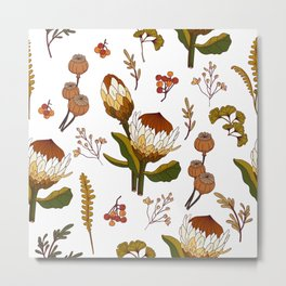 Protea and Poppies Brick Red_Large Pattern Metal Print