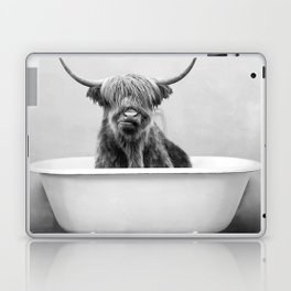 Highland Cow in a Vintage Bathtub (bw) Laptop & iPad Skin