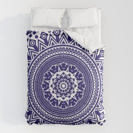 Mandala 006 Midnight Blue on White Background Comforters