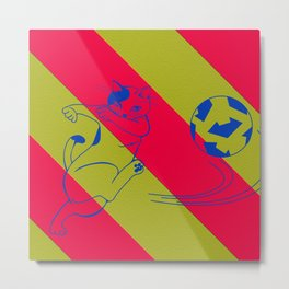 Soccer Cat Metal Print