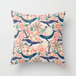 Whale Song on Coral Blush Throw Pillow