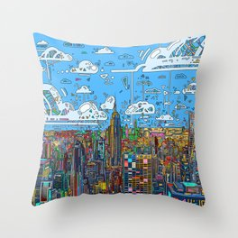 new york city skyline colorful Throw Pillow