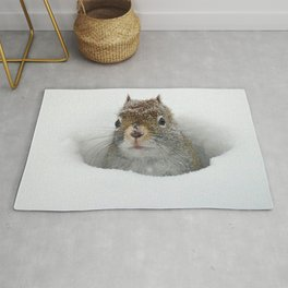 Cute Pop-up Squirrel in the Snow Rug