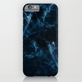 Midnight Blue Marble With Smoky Veins iPhone Case