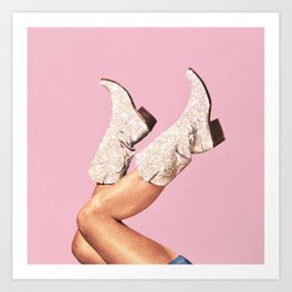 These Boots - Glitter Pink Art Print