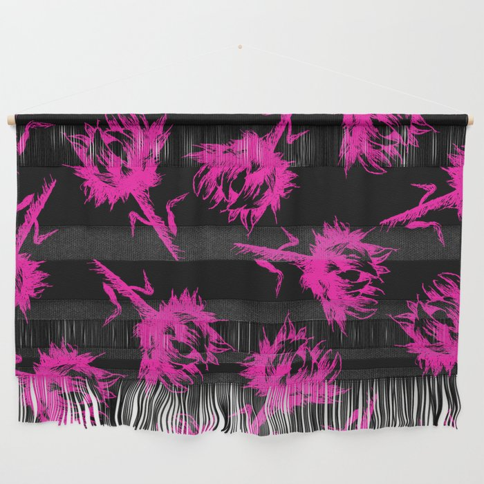 Neon Pink Sunflowers Wall Hanging by scarletwild