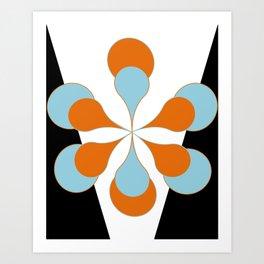 Mid-Century Modern Art 1.4 Aqua Orange Flower Art Print