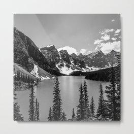 Lake Moraine Black and White Landscape Photography Metal Print