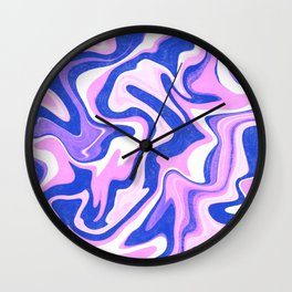 Pink, Blue and White Liquid Abstract Wall Clock