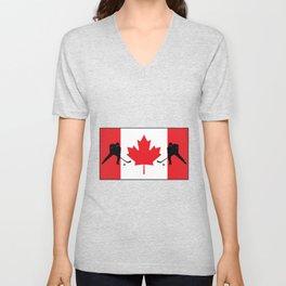 Canada Hockey player fag design Unisex V-Neck