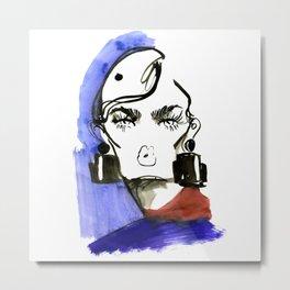 Lady Lashes fashion sketch Metal Print