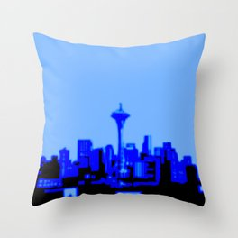 Pixilated/Blurred Seattle Skyline - blue Throw Pillow