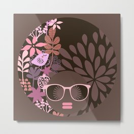 Afro Diva : Sophisticated Lady Pink Taupe Lavender Metal Print