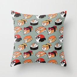Sushi  Corgi Throw Pillow