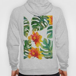 Monstera And Hibiscus Hoody