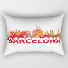 Barcelona Catalonia Spain Skyline Silhouette Strong with Text Rectangular Pillow