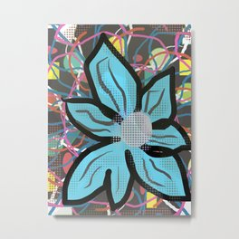 Wild Blue Flower Abstract Metal Print