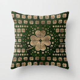 Golden Irish Shamrock Four-leaf clover Throw Pillow