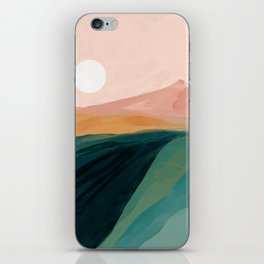 pink, green, gold moon watercolor mountains iPhone Skin