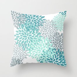 Floral Pattern, Aqua, Teal, Turquoise and Gray Throw Pillow