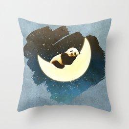 Sleeping Panda on the Moon Throw Pillow