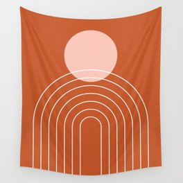 Mid Century Modern Geometric 50 in Rose Gold Terracotta Wall Tapestry