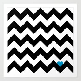 Heart & Chevron - Black/Blue Art Print