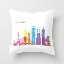 Shanghai skyline pop Throw Pillow